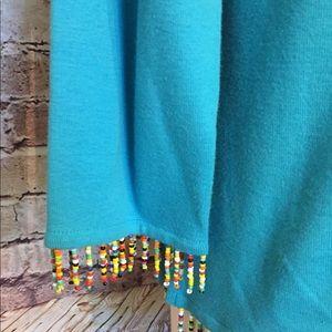 Tops - Aqua/blue top with beaded fringe